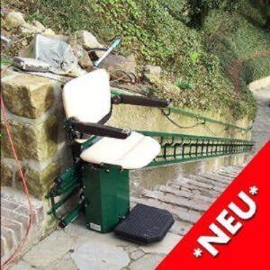 Neuer Kurven-Treppenlift für Außenbereich Button